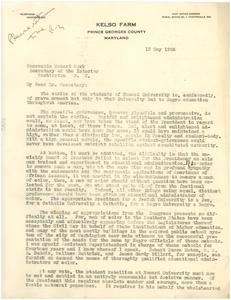 Letter from Rosco Conkling Bruce to Hubert Work