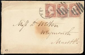 Partial letter from Joseph Ricketson, [New York?], to Deborah Weston, [1863 April?]