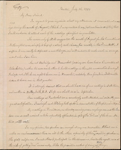 Thumbnail for Copy of letter from William Lloyd Garrison, Boston, [Mass.], to Samuel May, July 16, 1850