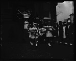 [Young girls holding flowers outside Frazier's funeral parlor : cellulose acetate photonegative]