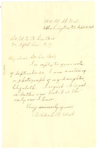 Letter from Rebekah West to W. E. B. Du Bois