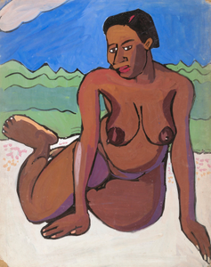 Seated Female Nude in Landscape
