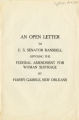 An open letter to U.S. Senator Ransdell opposing the federal amendment for woman suffrage