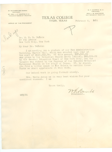 Letter from Texas College to W. E. B. Du Bois