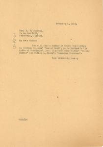 Letter from W. E. B. Du Bois to Mrs. E. V. Pickens