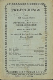 Proceedings of the 66th Annual Session of the East Florida P.B. Sunday School Convention and the Women's Congress
