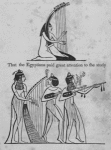 Representation of a woman playing the harp; representation of a woman playing the harp and two others playing guitars