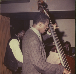 Jimmy Garrison (double bass) and Elvin Jones (drums) on stage at the Jazz Workshop