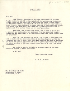 Letter from W. E. B. Du Bois to United States Secretary of State