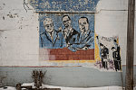 """Coleman Young, Malcolm X, and MLK, Jr., in the """"Dare to Dream!!!"""" mural at a car wash, Cloverdale at Elmhurst streets, Detroit, Michigan 2015--Close-up view"""