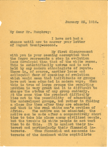 Letter from W. E. B. Du Bois to W. A. Humphrey
