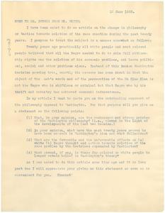 Memo from Walter F. White to W. E. B. Du Bois