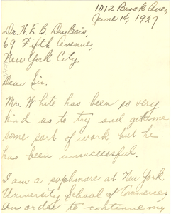 Letter from Robert Anthony to W. E. B. Du Bois