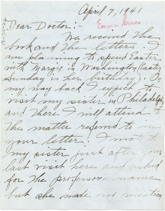 Letter from Emma Groves to W. E. B. Du Bois