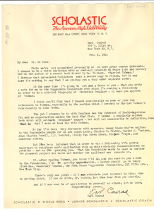 Letter from Earl Conrad to W. E. B. Du Bois