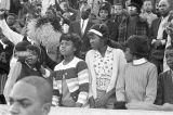 Crowd in the bleachers during homecoming activities for Alabama State College on Thanksgiving Day in Montgomery, Alabama.