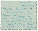 1957 Workshop letter to Seymour Samet, July 5, 1957