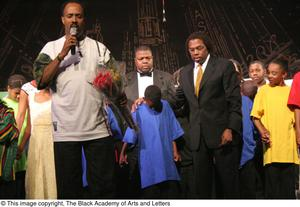 [Curtis King Praying with Performers on Stage] Hip Hop Broadway: The Musical