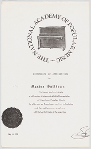 Thumbnail for Photocopy of a Certificate of Appreciation for Maxine Sullivan