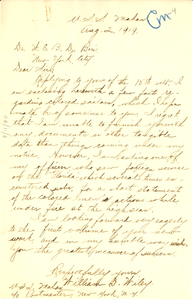 Letter from Willam D. Wiley to W. E. B. Du Bois