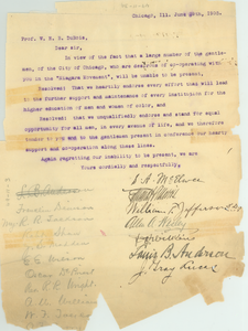 Petition from S. A. McElwee and others to W. E. B. Du Bois