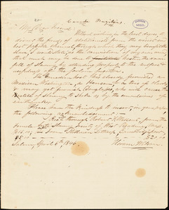 Thumbnail for Letter from Hiram Wilsom, Salem, to William Lloyd Garrison, 1846 April 6th
