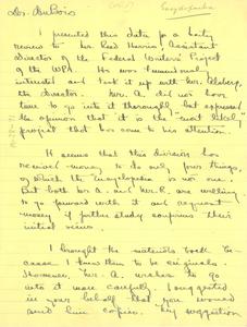 Letter from Ira de Augustine Reid to W. E. B. Du Bois