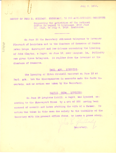 Report of of John R. Shillady, Secretary, to the Anti-Lynching Committee