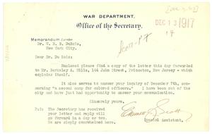 Letter from Emmett Scott to W. E. B. Du Bois
