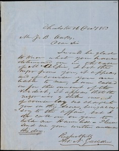 Theodore N. Gadsden, Charleston, S.C., autograph letter signed to Ziba B. Oakes, 16 December 1853