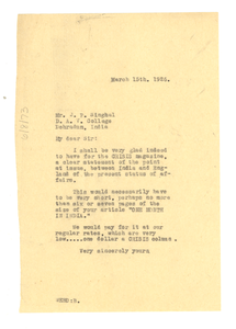 Letter from W. E. B. Du Bois to J. P. Singhal