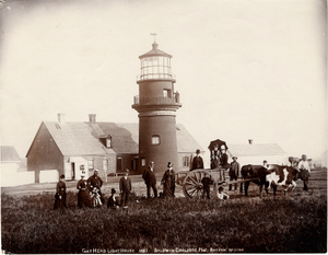 Exterior view of Gay Head Lighthouse with tourists and an ox-cart, Martha's Vineyard, Mass., 1887