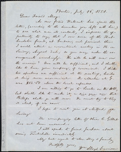 Letter from William Lloyd Garrison, Boston, [Mass.], to Samuel May, July 16, 1851