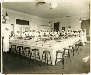 Young women in home economics classroom