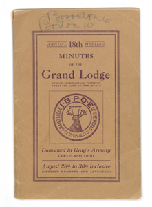 Annual 18th Meeting Minutes of the Grand Lodge, Improved Benevolent and Protective Order of Elks of the World