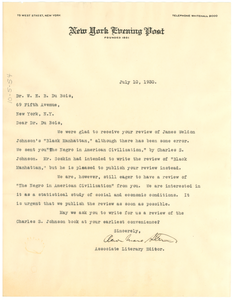 Letter from the New York Evening Post to W. E. B. Du Bois