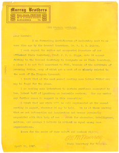 Circular letter to members of the Virginia branch of the Niagara Movement