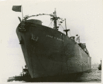Bow-side view of Liberty ship SS John H. Murphy just after it slid down the ways into the Curtis Bay on the day of its launching