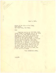 Letter from W. E. B. Du Bois to New York Mayor's Office
