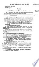 An Act to Amend the Commemorative Works Act, and for Other Purposes