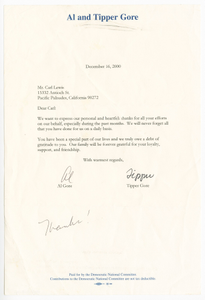 Letter from Vice President Al Gore and his wife Tipper Gore to Carl Lewis