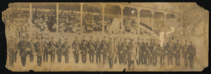 Albumen print of African American Odd Fellows in front of a grandstand