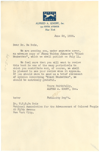 Letter from Alfred A. Knopf, Inc. to W. E. B. Du Bois