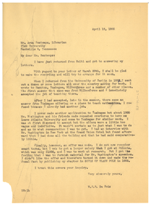 Letter from W. E. B. Du Bois to Arna Bontemps
