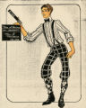 Costume design drawing, male performer with a clapboard, Las Vegas, June 5, 1980