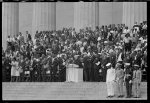 [Martin Luther King, Jr., and others during prayer at the Lincoln Memorial at the March on Washington]