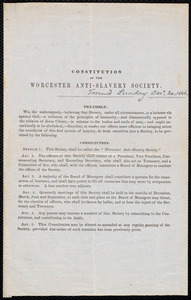 Constitution of the Worcester Anti-Slavery Society, Worcester, Mass., [1846?]