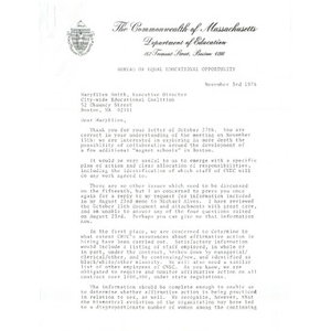 Letter, Bureau of Equal Educational Opportunity to Mary Ellen Smith, November 3, 1976.