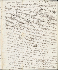 Letter from Lewis Tappan, New York, [New York], to William Lloyd Garrison, [18]37 Sept[ember] 21