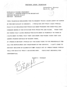 Correspondence between Former President Harry S. Truman and Edward M. Turner and Arthur L. Johnson